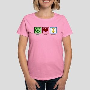 Peace Love Giraffes Women's Dark T-Shirt