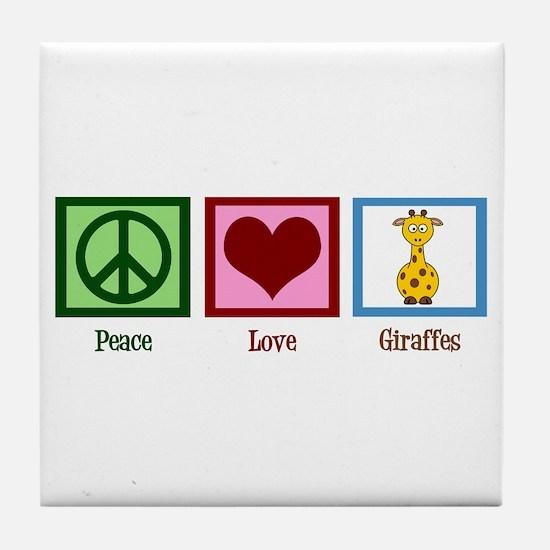 Peace Love Giraffes Tile Coaster