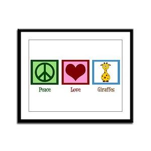 Peace Love Giraffes Framed Panel Print