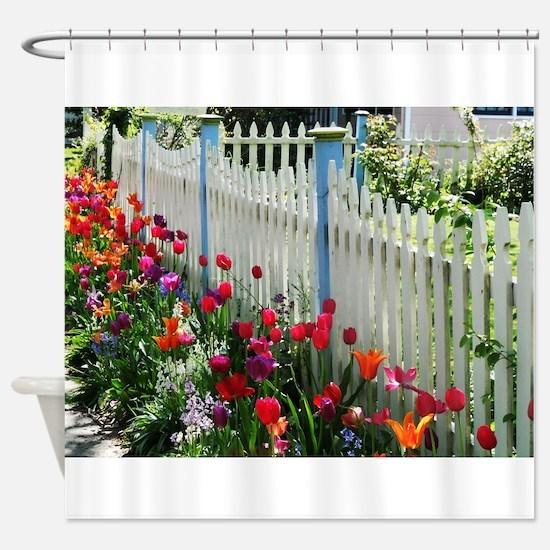 tulips garden white picket fence Cape May NJ photo