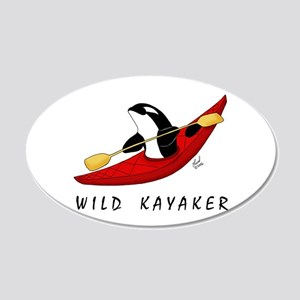 Wild Kayaker 20x12 Oval Wall Peel