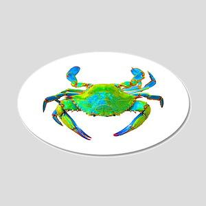 """Neon"" Blue Crab 20x12 Oval Wall Peel"