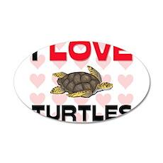 I Love Turtles 20x12 Oval Wall Peel