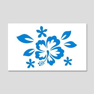 Hibiscus turquoise 20x12 Wall Peel