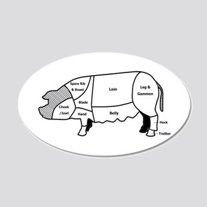 Pork Diagram 20x12 Oval Wall Peel
