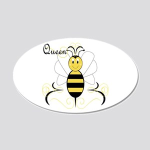 Smiling Bumble Bee Queen Bee 20x12 Oval Wall Peel