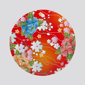 Japanese floral red Ornament (Round)