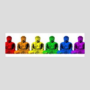 Row of Rainbow Buddha Statues 36x11 Wall Peel