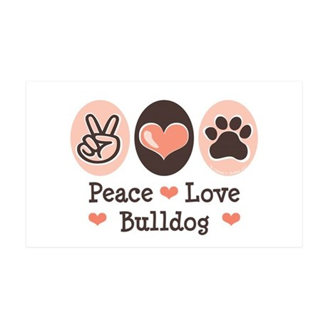 Peace Love Bulldog 35x21 Wall Peel