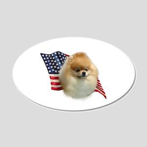 Pomeranian Flag 20x12 Oval Wall Peel
