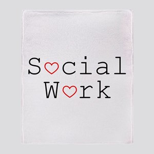 Social Work Hearts Throw Blanket