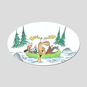 Animals in a Canoe 20x12 Oval Wall Peel