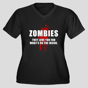 Zombie Humor (Love) Women's Plus Size V-Neck Dark