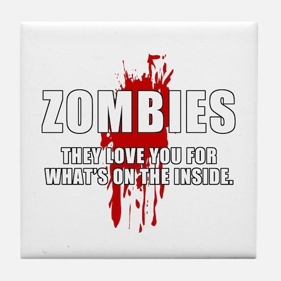 Zombie Humor (Love) Tile Coaster