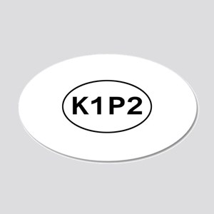 K1P2 - Knit One Purl Two 20x12 Oval Wall Peel
