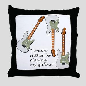 Playing My Guitar Throw Pillow