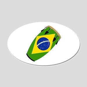 Conga Brazil Flag music 20x12 Oval Wall Peel