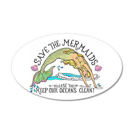 Save the Mermaids 35x21 Oval Wall Peel