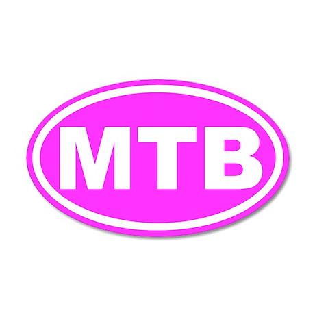 MTB Mountain Biking Pink Euro 35x21 Oval Wall Peel
