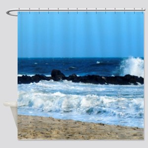 ocean beach rocks Cape May NJ photo square Shower