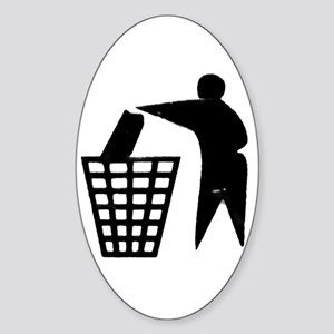 Trash Man Recycles Oval Sticker