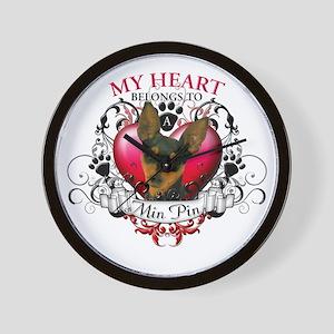 My Heart Belongs to a Min Pin Wall Clock