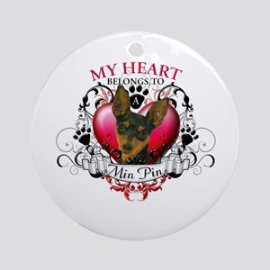 My Heart Belongs to a Min Pin Ornament (Round)