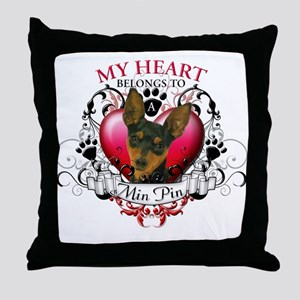 My Heart Belongs to a Min Pin Throw Pillow