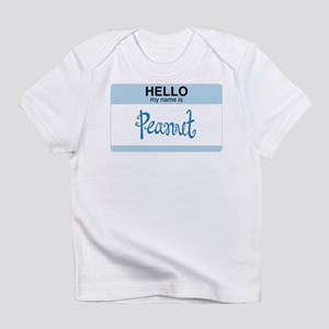 Hello My Name Is Peanut - creeper (blue) Infant T-