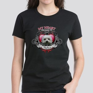My Heart Belongs to a Maltese Women's Dark T-Shirt