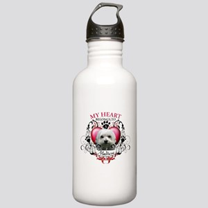 My Heart Belongs to a Maltese Stainless Water Bott
