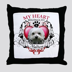 My Heart Belongs to a Maltese Throw Pillow