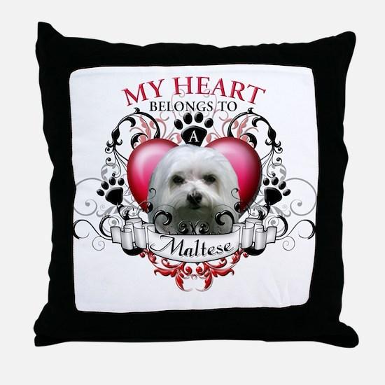 My Heart Belongs to a Maltese Throw Pillow