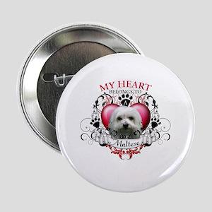 "My Heart Belongs to a Maltese 2.25"" Button"