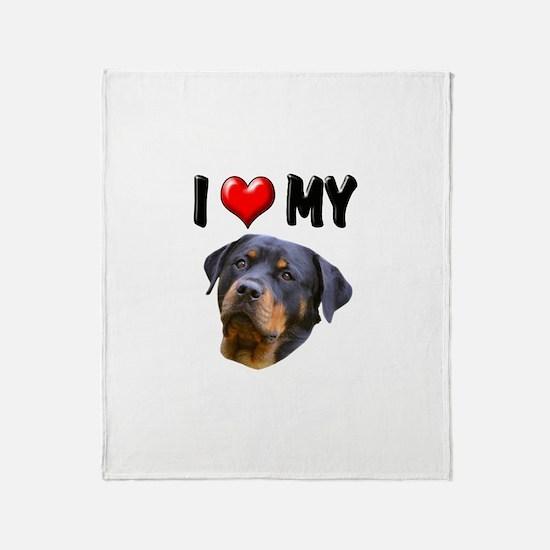 I Love My Rottweiler 2 Throw Blanket