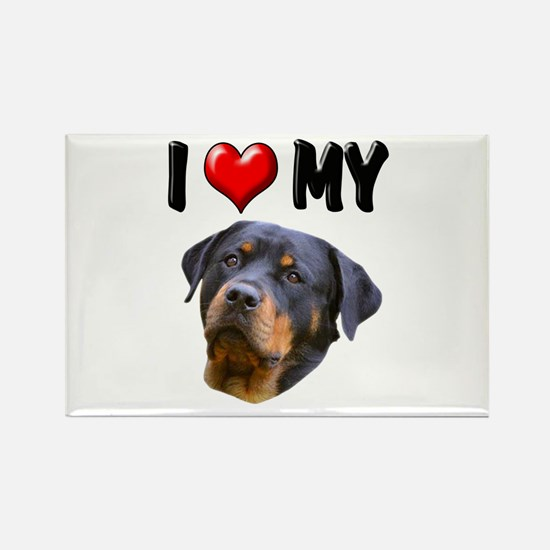 I Love My Rottweiler 2 Rectangle Magnet