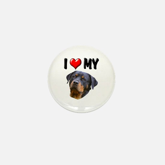 I Love My Rottweiler 2 Mini Button