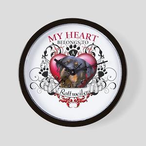 My Heart Belongs to a Rottweiler 2 Wall Clock