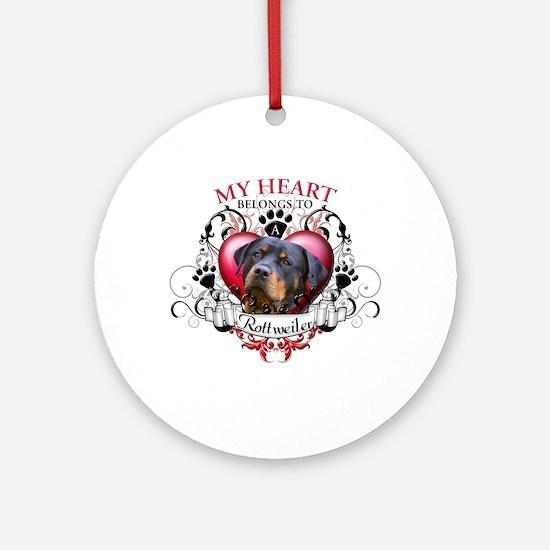My Heart Belongs to a Rottweiler 2 Ornament (Round