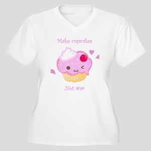 """Make Cupcakes, Not War"" Women's Plus Size V-Neck"