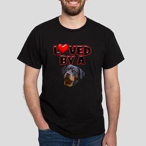 Loved by a Rottweiler 3 Dark T-Shirt