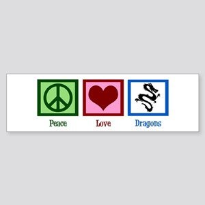 Peace Love Dragons Sticker (Bumper)