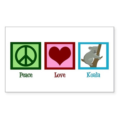 Peace Love Koala Sticker (Rectangle)