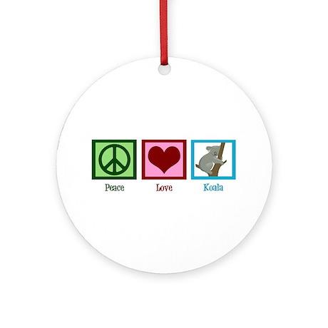 Peace Love Koala Ornament (Round)