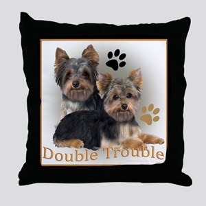 Yorkie Double Trouble Throw Pillow