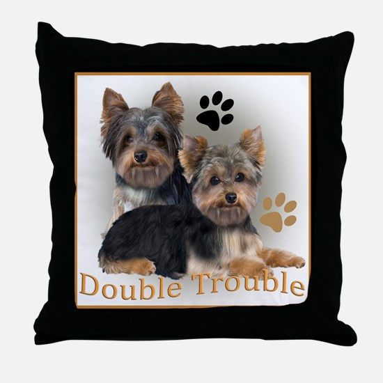 Yorkie Double Trouble Throw Pillow