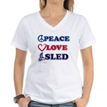 Snowmobiling is Life Live IT Women's V-Neck T-Shir