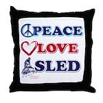 Peace Love Sled - Snowmobiler Throw Pillow