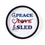 Peace Love Sled - Snowmobiler Wall Clock