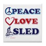 Peace Love Sled - Snowmobiler Tile Coaster